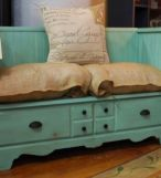 Always love Tip Junkie's DIYs :: How to turn on old dresser into bench seating.