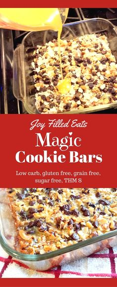 These Magic Cookie Bars taste just like the 'real' ones. No one will ever know they are sugar free, grain free, gluten free, low carb, and a THM S. via /joyfilledeats/