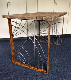 2er Set  Tischkufen Design Edelrost Tischbeine  Unikat Einzelstück     eBay