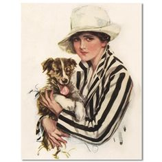 Collie Pup and Pretty Lady Note Cards featuring a restored Harrison Fisher postcard image of a pretty woman holding her collie puppy. American artist Harrison Fisher was famous during the first quarter of the 20th century for his paintings of beautiful women who embodied an independent, athletic and adventuresome spirit. $18