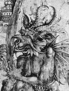 Description Detail Of Satan From The Temptation Christ Ca 1500 Engraving