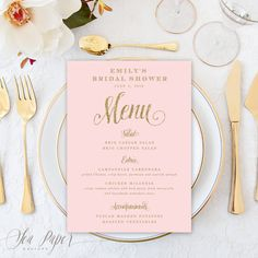 Ava Party Menu - Blush Pink & Gold Glitter, Bridal Shower, Baby Shower, Baptism, Birthday Party - Printed or Digital