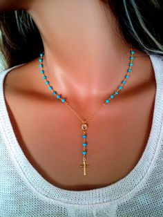 Rosary Necklace Gold Filled Turquoise Stone Cross Pendant Necklaces Women Jewelry High Quality Lariat Chritian Catholic Confirmation Gift Turquoise gemstones in size, faceted stones made into a Rosary inspired necklace on gold filled chain. Gold Rosary Necklace, Diy Necklace, Diamond Earrings, Necklace Holder, Pendant Necklace, Diamond Studs, Black Diamond, Pendant Jewelry, Turquoise Gemstone