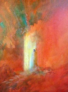 """The Open Door, Acrylic by Sara Joseph. """"Behold I stand at the door and knock..."""""""