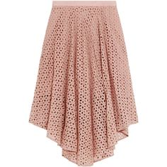 Tibi Hanae broderie anglaise cotton and silk-blend midi skirt (£150) ❤ liked on Polyvore featuring skirts, antique rose, mid calf skirts, midi skirt, rose skirt, tibi and tibi skirt