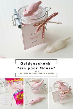 "Geldgeschenk im Glas ""Mäuse"" & Free Printable DIY fast and easy gift idea for a birthday / money gift with mice in the glass and label for printing / easy to tinker / diy instructions # mice it Yourself Birthday Money Gifts, Happy Birthday Cards, Birthday Greeting Cards, Birthday Greetings, Free Birthday, Birthday Crafts, Diy Gifts For Girlfriend, Presents For Boyfriend, Boyfriend Gifts"