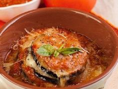Eggplant baked with mozzarella and Parmesan