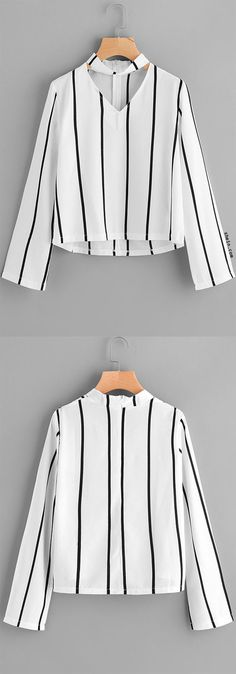 V Cut Striped Zip Back Blouse