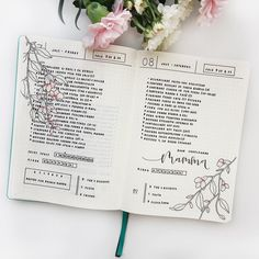 """1,606 Likes, 33 Comments - Federica • Bullet Journal (@feebujo) on Instagram: """"These days  I love this type of layout with 2 days for page because I have more space to write…"""""""