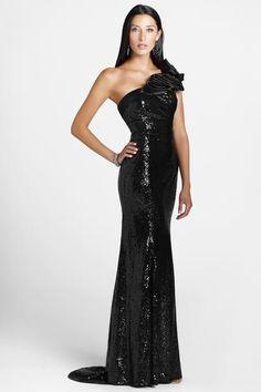 One Shoulder Floor-Length Brush Train Sequins Evening Dress