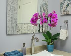 Purple Spotted Orchid In Bathroom