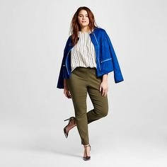 Women's Plus Size Skinny Crop Olive (Green) 16W - Who What Wear