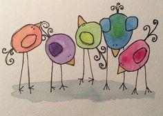 Bird Doodle, Doodle Art, Watercolor Bird, Watercolor Paintings, Watercolors, Art Fantaisiste, Art Carte, Happy Paintings, Owl Paintings