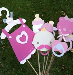 PINK BABY SHOWER photo booth props by flutterbugfrenzy on Etsy, $36.00