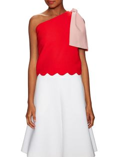 Big Bow Cotton Scalloped Top by Osman at Gilt