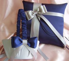 Navy and Silver ringbearer pillow and flower-girl basket. :)