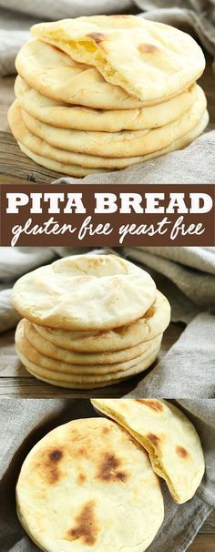 This soft and tender gluten free pita bread is also yeast free, so there's no rising time. Store-bought gluten free flatbreads simply can't compare! Without a really good recipe for gluten free pita Pain Pita Sans Gluten, Gluten Free Pita Bread, Pita Bread Recipe Without Yeast, Gluten Free Flatbread, Healthy Pita Bread, Low Carb Pita Bread, Gluten Free Pita Chips Recipe, Gluten And Yeast Free Bread Recipe, Gluten Free Communion Bread Recipe