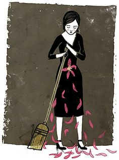 """Miscarriage  Featured in:  2012 Illustration Annual  """"For an article about a woman having a miscarriage and feeling alone with her grief because it is still a taboo subject."""" 5 7/8 x 7 7/8, digital.  Catherine Lepage, illustrator  Cinders McLeod, art director  The Globe and Mail, client"""