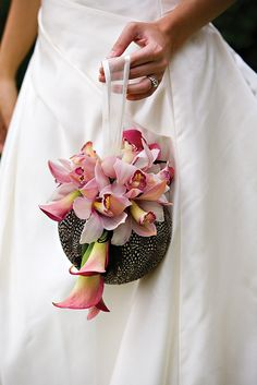 Floral purse - calla lilies and cymbidium orchids.