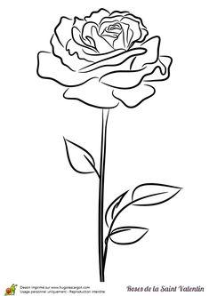 Image d'une jolie rose stylisée à colorier pour la saint valentin