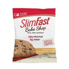 SlimFast Bakeshop Meal Replacement Peanut Butter Chocolate Chip Cookie With Of Protein Milk Chocolate Chip Cookies, Chocolate Peanut Butter, Melting Chocolate, Homemade Chocolate, Chocolate Recipes, Meal Replacement Bars, Slim Fast, Easy Snacks, Clean Eating Snacks