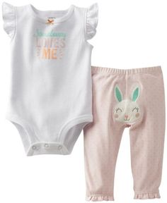 8dcff443e Amazon.com: Carter's Baby 2-piece Easter Bodysuit and Pant Set (9 Months,  Blue): Clothing