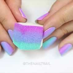 Double ombré tutorial!   I reversed the order of the colours for each alternate nail to create this cool two-way gradient effect!