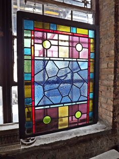 Unique Antique Multicolor Stained Leaded Glass with Geometric Pattern 7053 | eBay