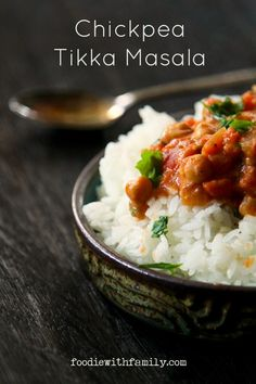 Chickpea Tikka Masala- hearty, simple, pocketbook friendly, stick-to-your-ribs comfort food that just happens to be meat, dairy, and gluten free from foodiewithfamily.com
