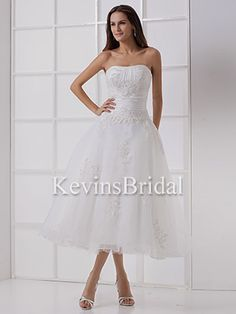 Spring Classic Outdoor Dropped Waist Ruched Tea Length Taffeta Brides Gown - US$ 134.09 - Style KB0709 - Kevins Bridal