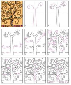 How to Draw a Klimt Tree of Life · Art Projects for Kids Tree Of Life Painting, Tree Of Life Art, Tree Art, Painting Art, Art Klimt, Classe D'art, 4th Grade Art, Arte Sketchbook, Art Worksheets