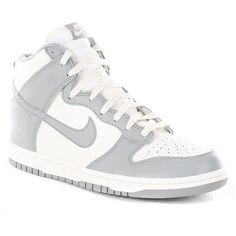 Nike Dunk Hi 08 Shoes Sail-Medium Grey ($58) ❤ liked on Polyvore
