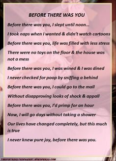 """Before There Was You"" poem about before and after parenting"