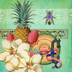 This collage just stood out because truly I love the tropics. I love to travel, and it really popped for me because of the fruit and flowers.