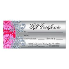 232 Gift Certificates Salon Spa Gold Floral | Gift certificates ...