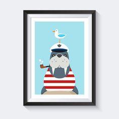 Drucke & Plakate - Tier Poster Kinderzimmer Bild Kinder Poster maritim - ein Designerstück von SmoX_Poster_Shop bei DaWanda  - In cooperation designed by Vecteezy.com
