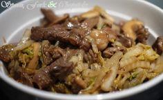 Asian Beef Shiitake Nappa Cabbage Salad Recipe Napa Cabbage Salad, Cabbage Salad Recipes, Meat Recipes, Paleo Recipes, Cooking Recipes, Asian Beef Salad Recipe, Asian Cooking, Meals, Kitchens