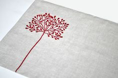 Red Tree Placemat, Placemat Set of 4, Red Floral Natural Linen Placemats, Embroidered Placemats, Christmas Table Linen, Custom Placemats. $36.00, via Etsy.