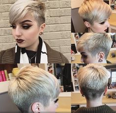 just short haircuts, nothing else. If you& thinking of getting an undercut, sidecut, pixie, or any. Hair Color And Cut, Haircut And Color, Cut My Hair, New Hair, Super Short Hair, Short Hair Cuts, Short Hair Styles, Pixie Cuts, Pixie Hairstyles