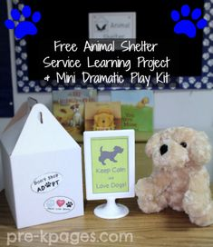 We do this in our summer camps at the Humane Society of Huron Valley, but how awesome for someone to include this in their classroom!  Free Animal Shelter Service Learning Project + Mini Dramatic Play Kit for Preschool and Kindergarten