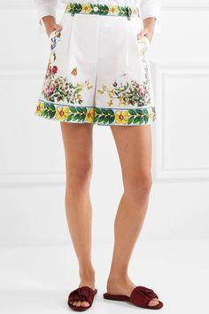 Dolce & Gabbana - Printed Cotton-poplin Bermuda Shorts - White