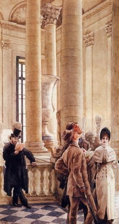 At the Louvre by James Tissot, 1879-80 France    Also called Foreign Visitors at the Louvre