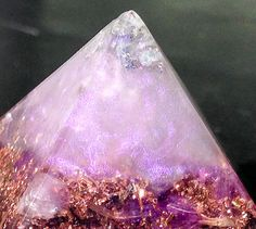 Shimmering Labradorite at the tip of this Orgonite Crown Chakra Pyramid Violet Flame by VioletFlameOrgoneLA ~ labradorite activates our Third Eye and I feel a boost of energy to my Crown Chakra whenever I open this energy channel.