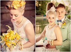 yellow and turqoise vintage summer wedding