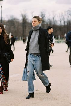 Black. Grey. Denim. -- Paris Fashion Week F/W 2014 #style #fashion #streetstyle