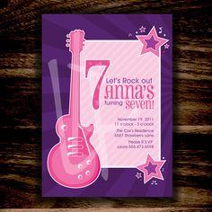 Birthday RockStar Girl Invitation, Ready to Print Digital File - Rock & Roll Pop Star Party, Music Party, Star Girl, 3rd Birthday, Birthday Ideas, Birthday Invitations, Invites, Is 11, Rock And Roll