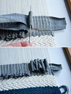 Fabric manipulation and textile design Tips on Weaving with Denim Weaving Textiles, Weaving Art, Weaving Patterns, Loom Weaving, Tapestry Weaving, Fabric Weaving, Knitting Patterns, Rug Loom, Textile Fabrics