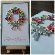 Stampin up - Stempelset: Willkommen Weihnacht! Framelits: Wonderful Wreath Dies; Farben: Farngrün, Olivgrün, Pflaumenblau, Wassermelone, Jade