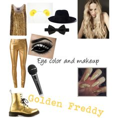Golden Freddy (Five Nights at Freddy's) by kyro19 on Polyvore featuring moda, Rochas, Yves Saint Laurent, Dr. Martens, Yang Li and Ted Baker