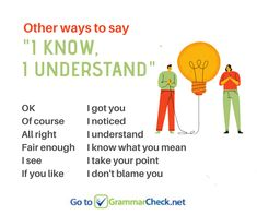 "Other Ways to Say ""I understand"" Good Vocabulary, English Vocabulary, English Grammar, English Language, English Writing Skills, Essay Writing Tips, Writing Words, Learn English Words, English Study"